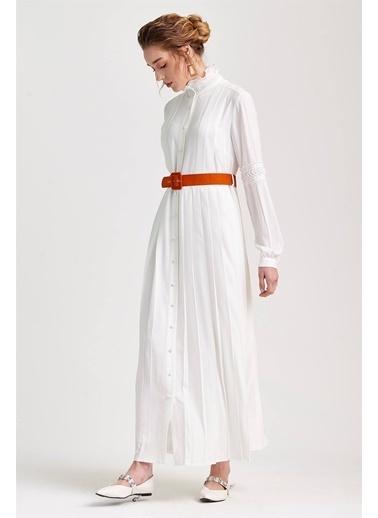 Vivencia Dantel Plise Detaylı  Elbise Ekru